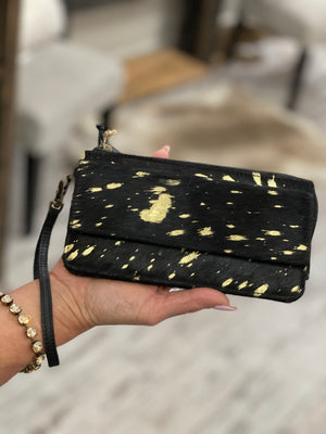 Hairon & Leather Wallet Wristlet in Black & Gold