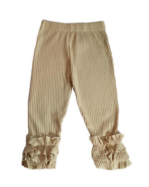 Ribbed Ruffle Leggings in Beige