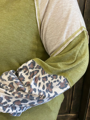 Leopard Print Color Block Top