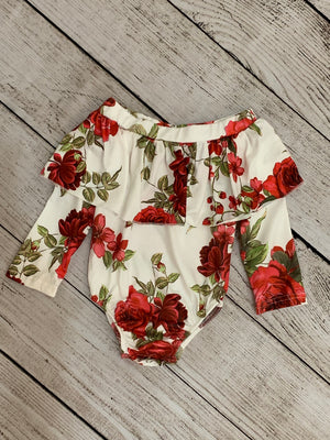 Ruffled Red Floral On/ Off Shoulder Onesie
