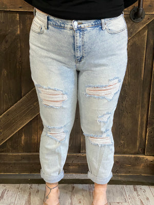 High Rise Cuffed Distressed Boyfriend Jeans