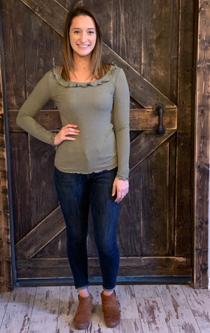 Long Sleeve Neck Ruffle Top in Olive