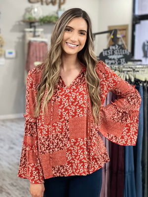 Floral Mixed Print Bell Sleeve Top