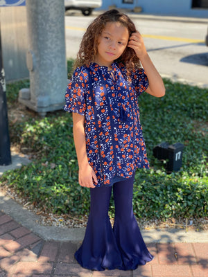 Floral & Crochet Top with Tassel Tie