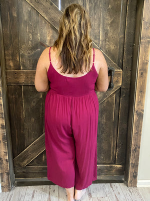 Button Down Spaghetti Strap Jumpsuit