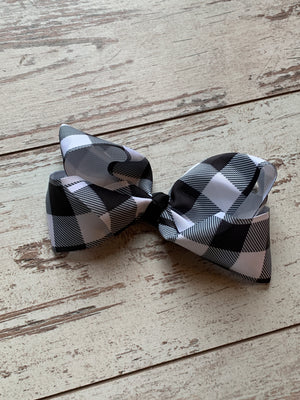 Black Plaid French Knot Bow Clip