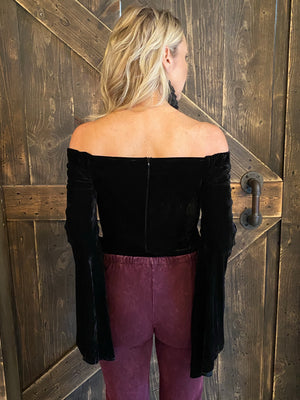 Velvet Off Shoulder Bell Sleeve Bodysuit in Black