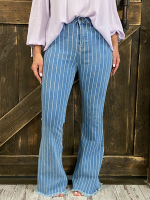 Striped Bell Bottom Jeans with Frayed Hem