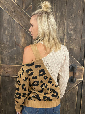 Leopard Cable Knit Cold Shoulder Sweater
