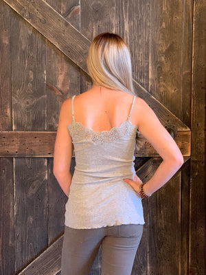 Spaghetti Strap Tank with Lace Detail in Grey