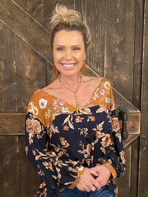 Multi Floral Top with Bishop Sleeves