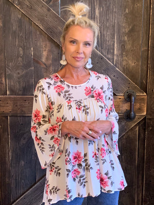 Floral Tunic Top with Ruffled Sleeves