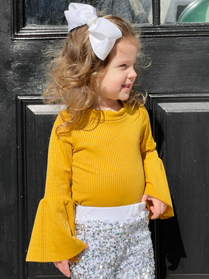 Ribbed Bell Sleeve Top in Mustard