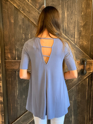 Loose Fit Top with Strappy Open Back