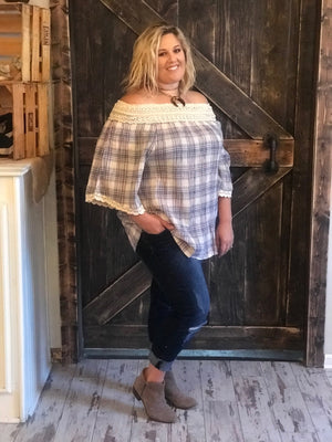 Plaid Off Shoulder Top with Crochet Detail