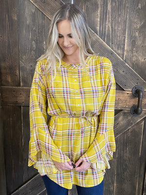 Plaid Bell Sleeve Tunic Top