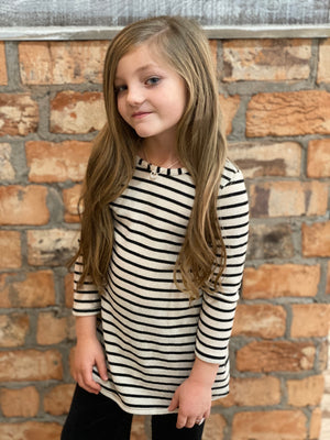 Striped Tunic Dress with Plaid Elbow Patches