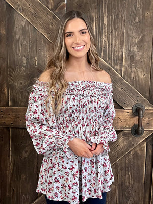 Floral Smocked Off Shoulder Top