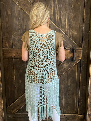 Crochet Duster Cardigan with Tassel Hem in Sage
