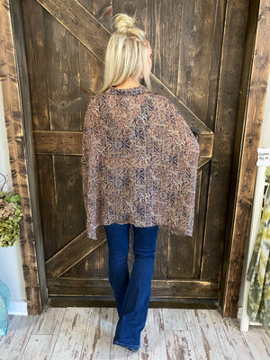 Printed Button Down Top with Wide Sleeves