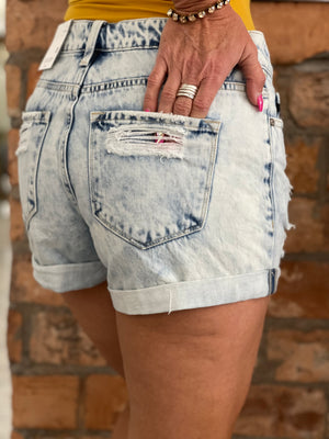 Acid Washed Cuffed Distressed Shorts
