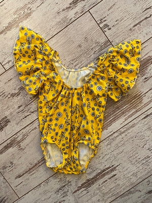 Floral Ruffle Sleeve Low Back Onesie in Yellow