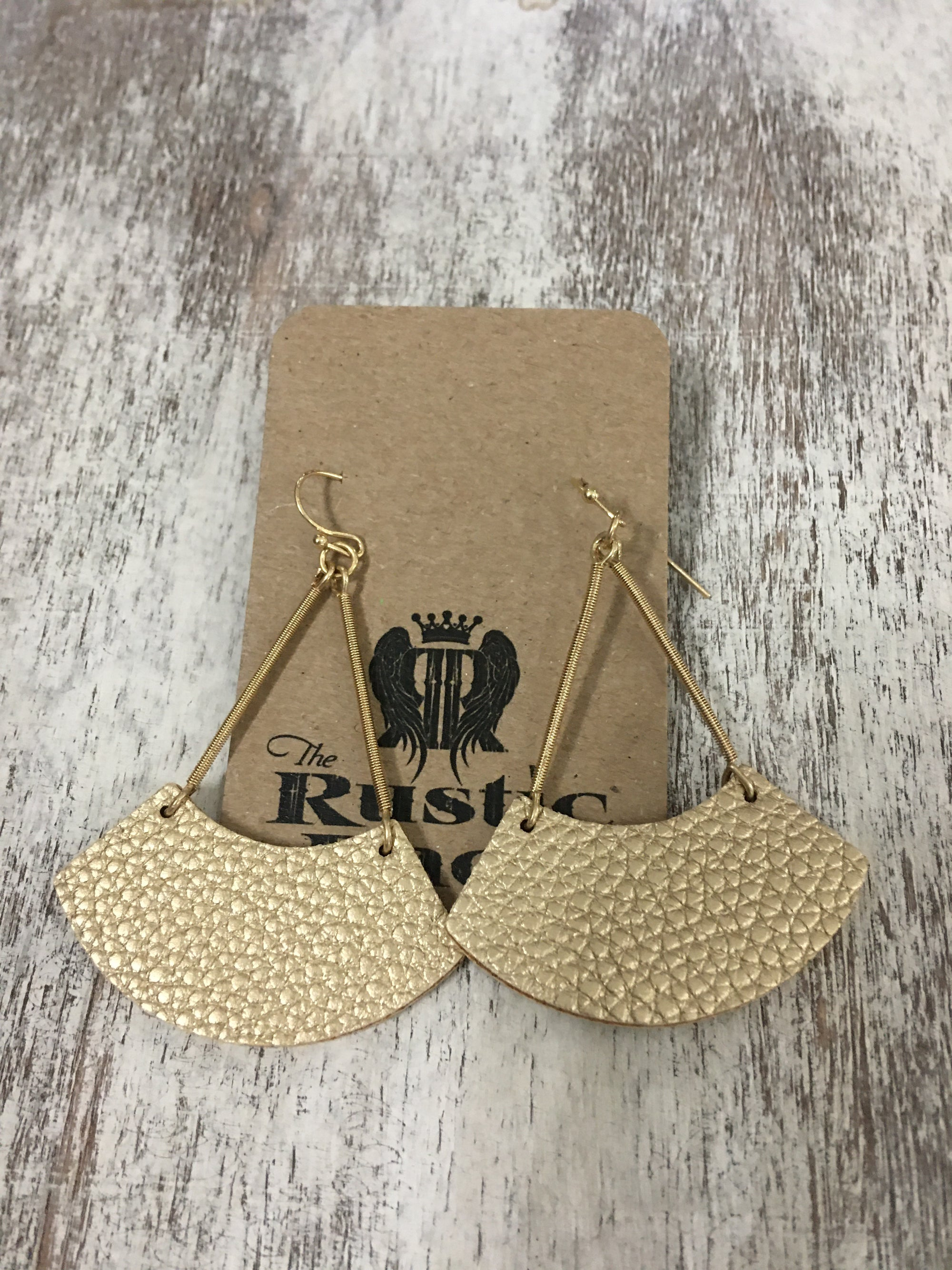 Leather Wedge Earring in Gold