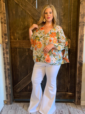 Floral Surplice Top with Ruffled Sleeves