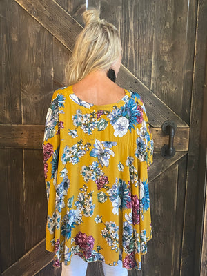 Oversized Floral Top with Dolman Sleeves