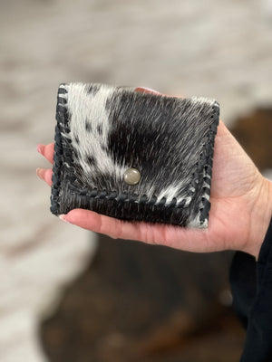 Leather & Hairon Coin Purse in Black