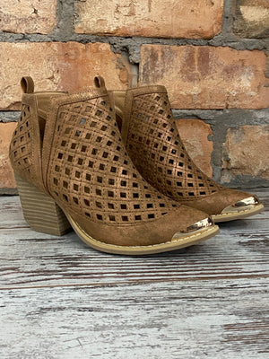 Perforated V Cut Ankle Bootie