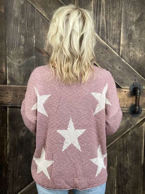 Lightweight Star Printed Sweater