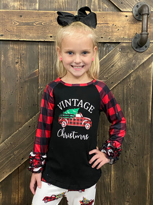 Plaid Red Truck Christmas Bell Bottom Set