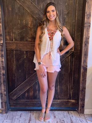 Distressed High Rise Shorts in Blush