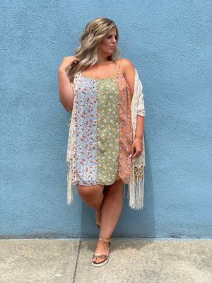 Multi Print Spaghetti Strap Tunic Dress