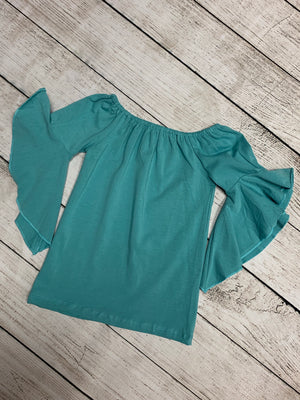 Bell Sleeve On/ Off Shoulder Top in Seafoam