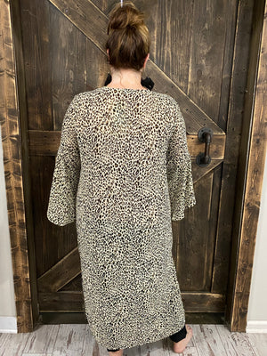 Sheer Animal Print Cardigan with Side Slits