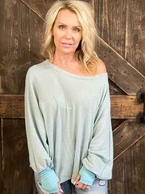 Waffle Knit Dolman Sleeve Top in Sage