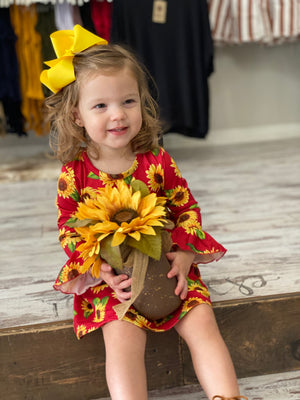 Long Sleeve Sunflower Babydoll Dress