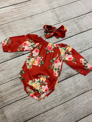 Floral Romper with Bubble Sleeves & Headband Set