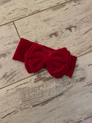 Velvet Bow Headband in Red