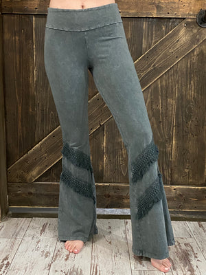 Washed Bell Bottom Flare with Fringe in Taupe Gray