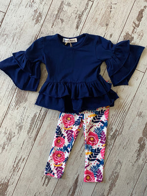 Floral Leggings & Ruffle Bell Sleeve Top Set - Blue