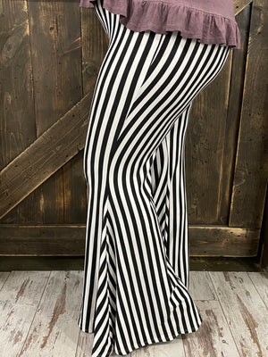 Striped Bell Bottom Pants