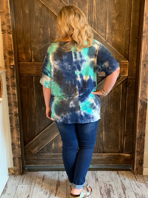 Tie Dye Top with Front Knot in Mint