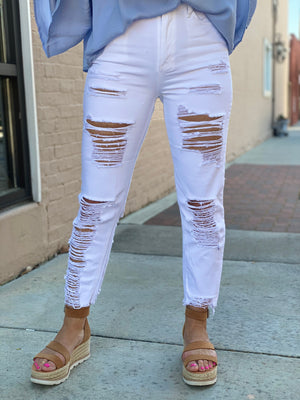 Extreme Distressed White Skinny Jeans