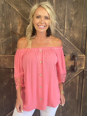 Off Shoulder Button Down Top with Crochet Trim