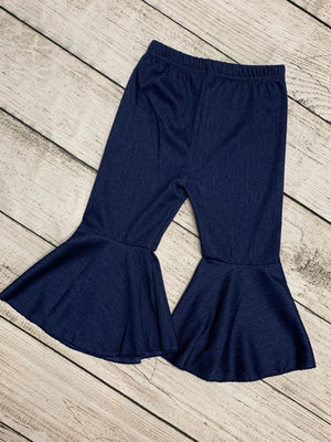 Pleated Bell Bottom Pants in Dark Denim
