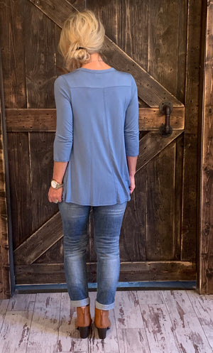 Solid Top with Raw Edge Pocket in Blue