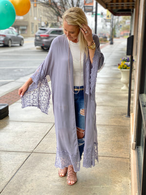 Scalloped Lace Duster Cardigan